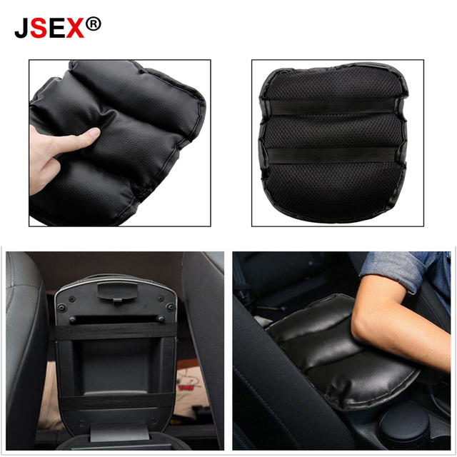 2018 New Universal Car Armrest Pad Soft Leather Central Console Box Cover Vehicle Arm Rest Seat Storage Protective Cushion Black