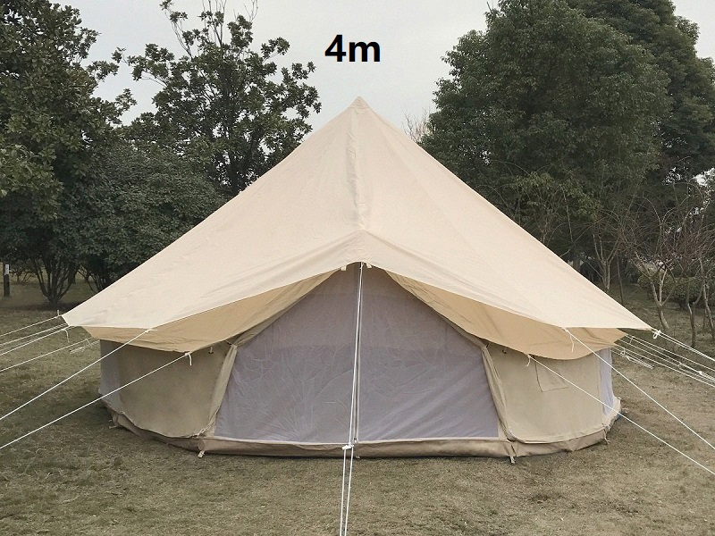 DANCHEL Light Khaki Cotton Canvas Bell <font><b>Tent</b></font> with Wind Water Protection Flying