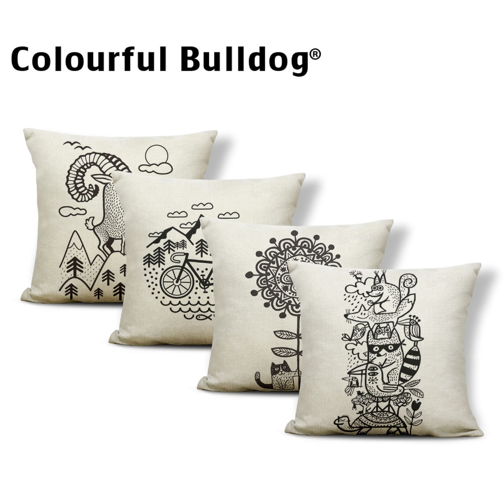 Animal Tulip Cushion Covers Plant Pillow Cases Mountain European Gamer Chair Holiday Gift Throw Pillows Small Cotton Blend Brand