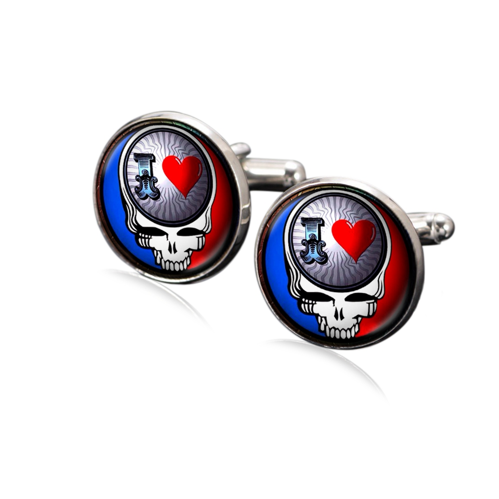 1 Pair Sugar Rock Heart Skull Theme Cufflink 18mm Glass Charms Silver Plated Copper Based Multi Customized Pattern Xk0017