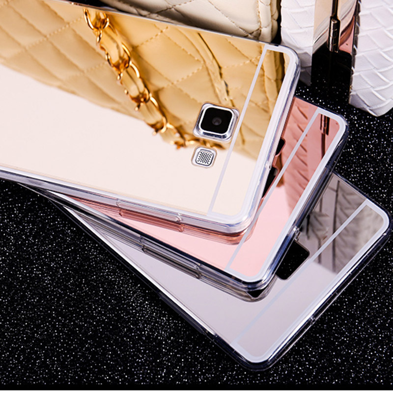 Samsung Galaxy A3 A5 A7 2016 Yumşaq TPU Arka Qapaq üçün A310 A510 A710 Case Rose Gold Lüks Clear Güzgü Telefon Qutuları