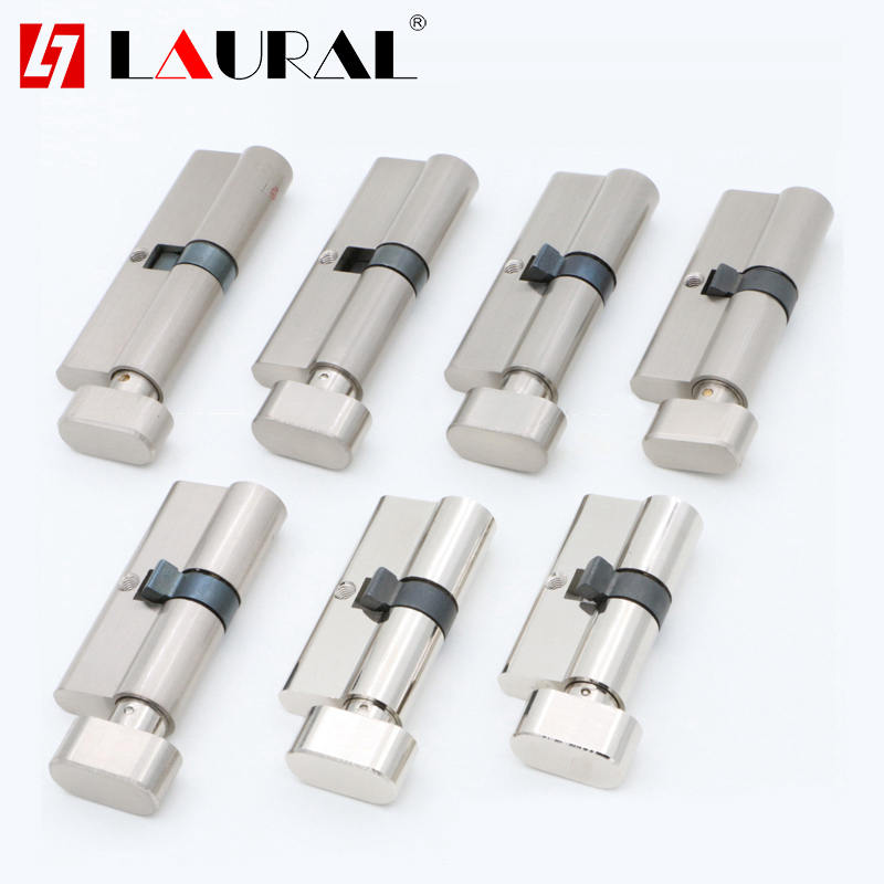DIY Door Cylinder 55 60 65 70 75 80 85 90 100 110mm Security  Copper  Lock Cylinder  Interior Bedroom  Living  Handle  Brass Key