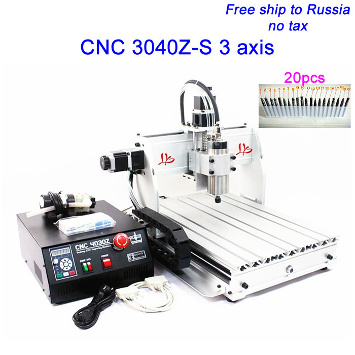 Free ship to Russia,no TAX !  cnc engraving machine, cnc router 3040 z-s  series water cooled engraver with cutter bit no tax to russia cnc 5 axis t chuck type include a aixs