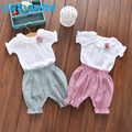 2017 Summer Clothing For Girls Cute Children White Floral Flare Collar Pullover T Shirt+ Elastic Waist Shorts 2PCS Clothes Sets