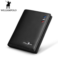 WilliamPOLO Small Wallet Men Genuine Leather Slim Wallet Card Holder Purse Short Male Wallets Black Blue Brown Gift Packing