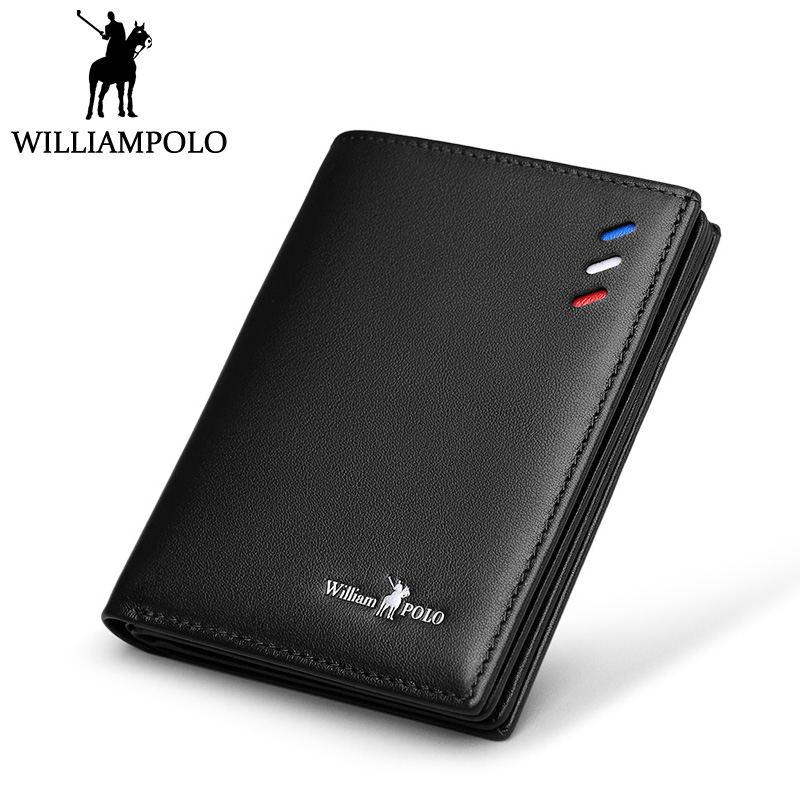 WilliamPOLO Small Wallet Men Genuine Leather Slim Wallet Card Holder Purse Short Male Wallets Black Blue Brown Gift Packing new arrival short wallets genuine leather black brown brand bifold wallet mens small vintage leather men card holder