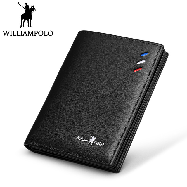 4b58a3c2b4d1 US $28.19 40% OFF|WilliamPOLO Small Wallet Men Genuine Leather Slim Wallet  Card Holder Purse Short Male Wallets Black Blue Brown Gift Packing-in ...