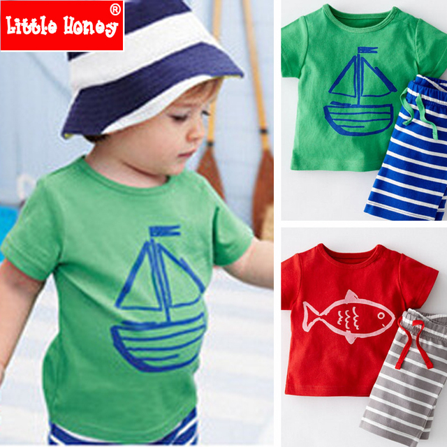 2T-6T Kids Boys Clothes Summer Children Toddler Boys Clothing Set Cotton Cartoon Pirate Child Fashion 2017 Latest for boys T564
