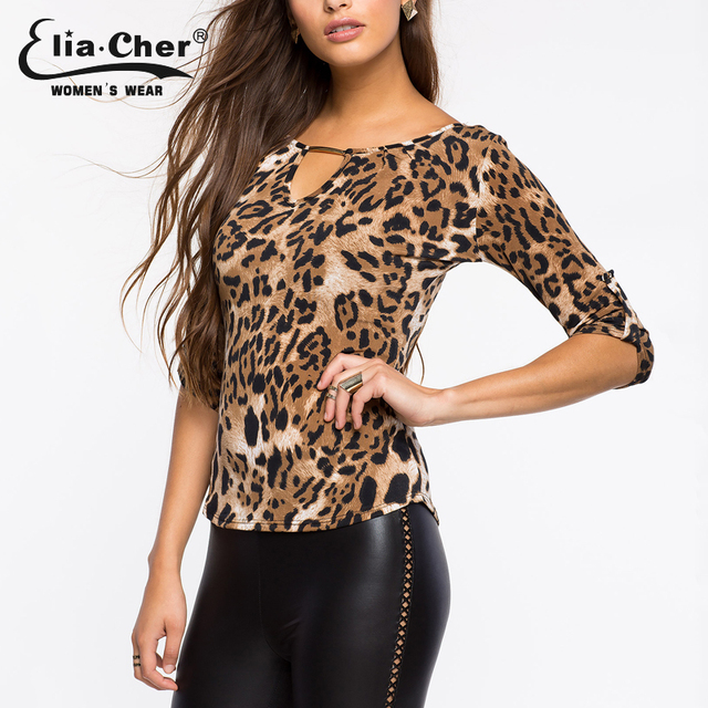 aaa- Half Sleeve Ladies Casual Leopard Print Blouse – Plus Size XXL