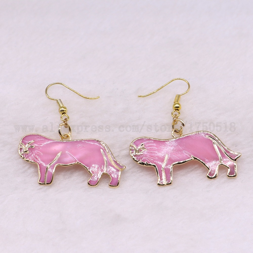 earrings pairs item animal in pink drop accessories earring jewelry dangle hook from leo lion boho gems custom stone