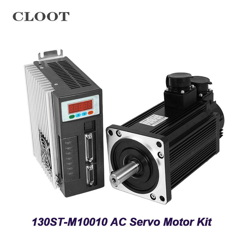 130ST-M10010 AC Servo Motor Totally Enclosed 1KW 1000rpm Servo Motor AC220V With Matched Driver 3M Cable 80st ac servo motor three phase 80st m01330 servo motor 220v matched servo driver servo motor motor cable