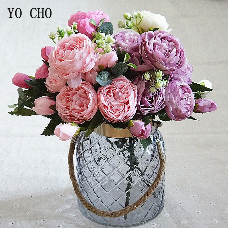 Rose Pink Silk Peony Artificial Flowers Bouquet 5 Big Head and 4 Bud Cheap Fake Flowers for Home Wedding Decoration indoor (11)