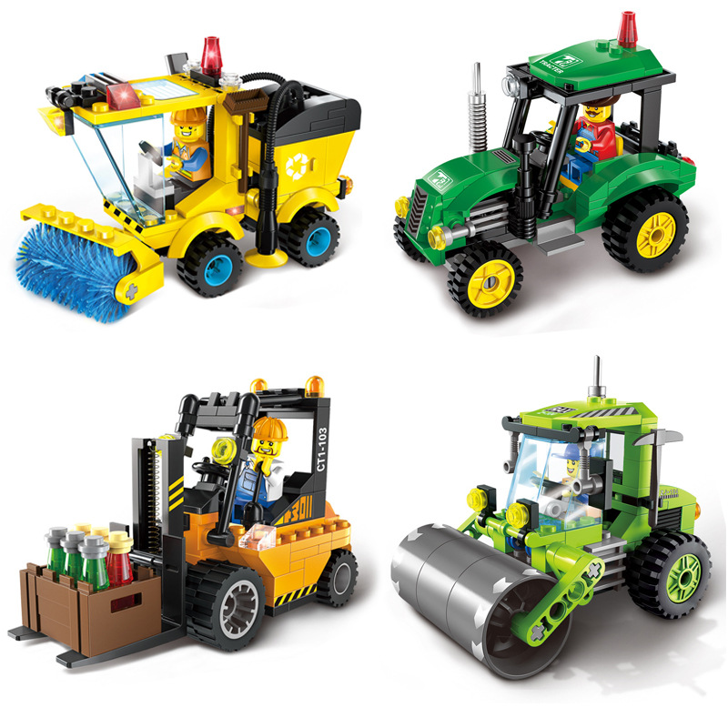 4 Type Civilized City Sweeper Legoings Assembled Model Building Blocks Toys Kit Diy Educational Children Birthday Gifts 1PC