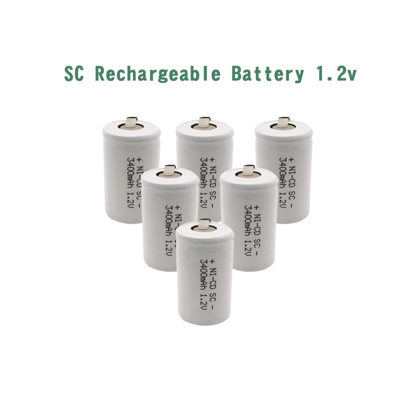 24pcs SC 3400mah 1 2V rechargeable battery 3400mah 4 5 SC Sub C ni cd cell with welding tabs for electric drill screwdriver in Rechargeable Batteries from Consumer Electronics