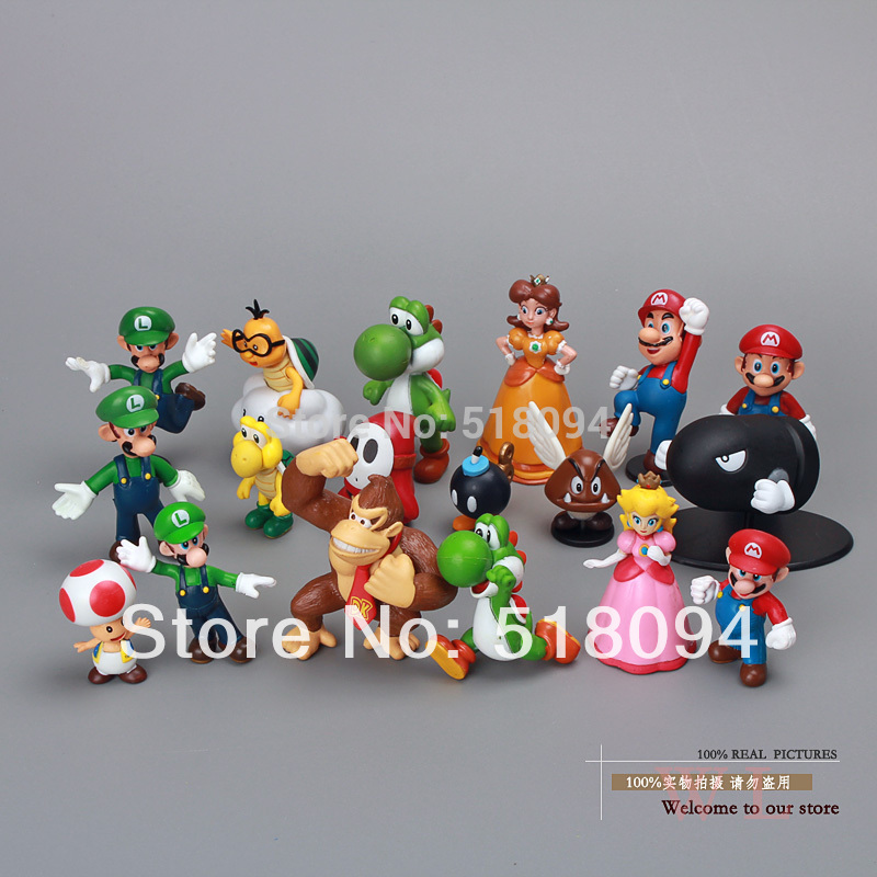 Wholesale Retail Free Shipping Plastic Super Mario Bros PVC Action figures Toys Dolls 18pcs/set SMFG037