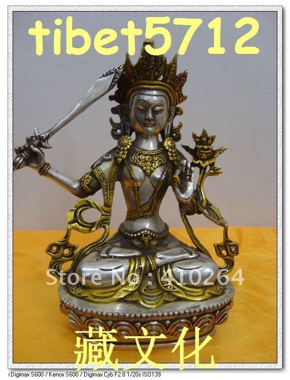 NEPAL BOUDDHA STATUE MANJUSHRI BRONZE COATED SILVER BOUDDHA STATUE 8