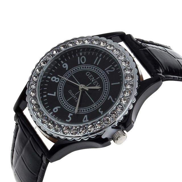 Fashion Brand New Geneva Watch Women Crystal Dial Lady Dress Wrist Bracelet Quartz