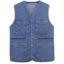 Vests Jeans Waistcoat Sleeveless Jacket Many-Pockets Male Designs Denim New SHIERXI