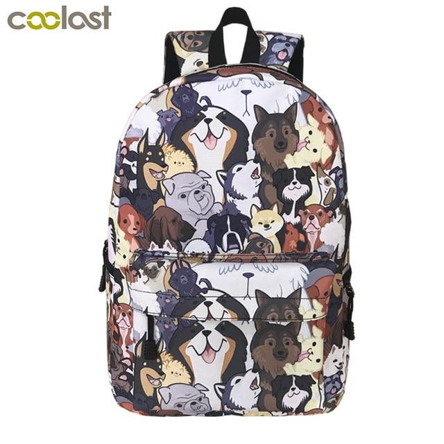 Cute Puppy Dog Backpack For Teenager Boys Girls Children School Bags Women  Laptop Backpack Kid Book