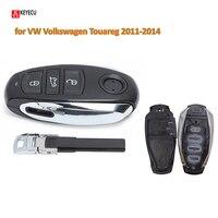 Keyecu-carcasa inteligente de entrada sin llave para coche VW, carcasa de control remoto con 3 botones, para Volkswagen Touareg 2011-2014 (solo carcasa)