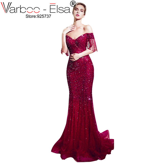 2c9c7ef860 VARBOO ELSA moda nuevo elegante vino rojo sirena vestido de noche Apliques  de encaje de lujo con cola de pez largo vestido de fiesta Pary