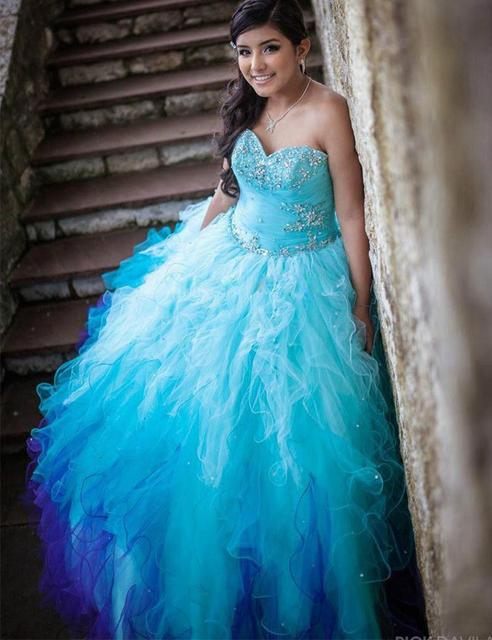 2015 Blue Puffy Quinceanera Dresses Debut Gowns Ruffles Crystal ...
