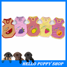 329 New 2015 Summer Style Cute Dog Puppy Vest T Shirt Clothes Stripe Fruit Printed Pet Dogs Clothes