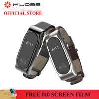 Original Mijobs PU Leather Strap for Xiaomi Miband 2 Wrist Strap mi band 2 Smart Bracelet Steel Metal Frame Smart Watches