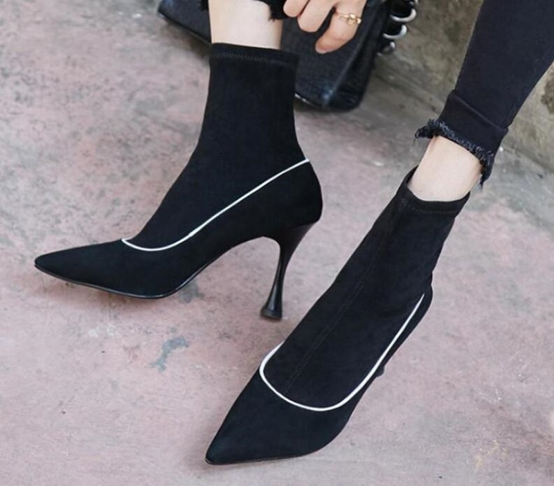 Women Solid Color Flock Leather Pointed Toe Ankle Sock Boots Autumn Sexy Slip On Black Grey Elegant Short Boots High Heels color changing dolphin shape 3d visual led night light