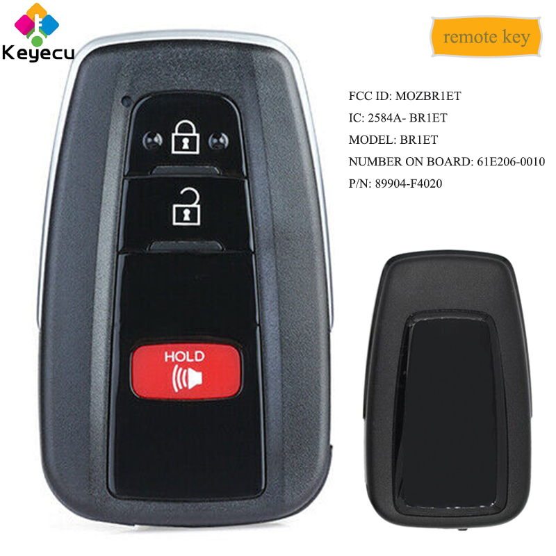 Clé à distance intelligente de remplacement KEYECU avec 3 boutons 314.3 MHz 8A puce-FOB pour Toyota C-HR 2018 2019 FCC: MOZBR1ET PN: 89904-F4020