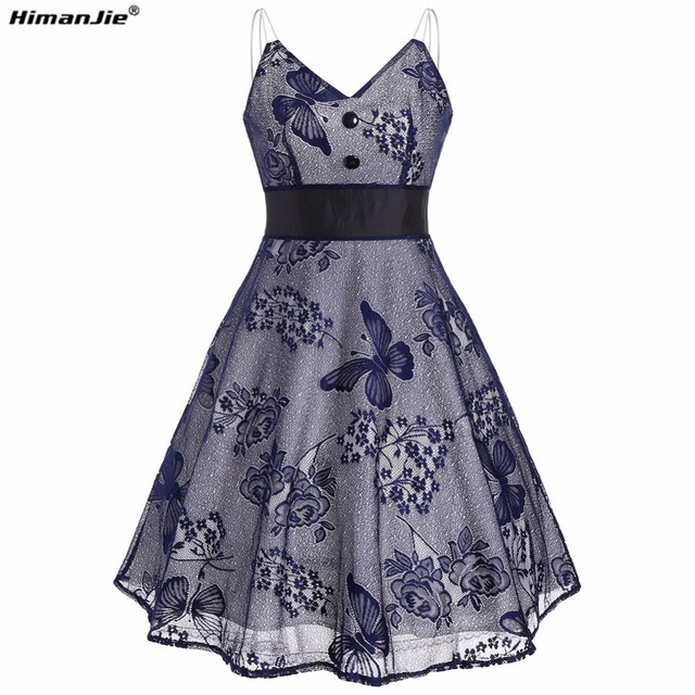 Himanjie Women Vintage Dress butterfly pattern Retro Stitching Patchwork  Party Sexy mesh Strap Female Cute ALine Vintage Dresses 6e7ce9a959b3