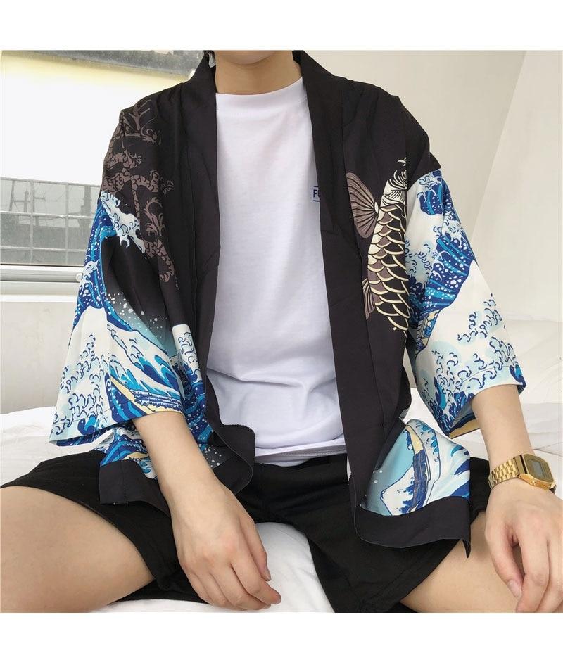 HTB1bhqEmbsrBKNjSZFpq6AXhFXa9 Zongke Japanese Kimono Cardigan Men Wave and Carp Print Long Kimono Cardigan Men Thin Mens Kimono Cardigan Jacket Coat 2018