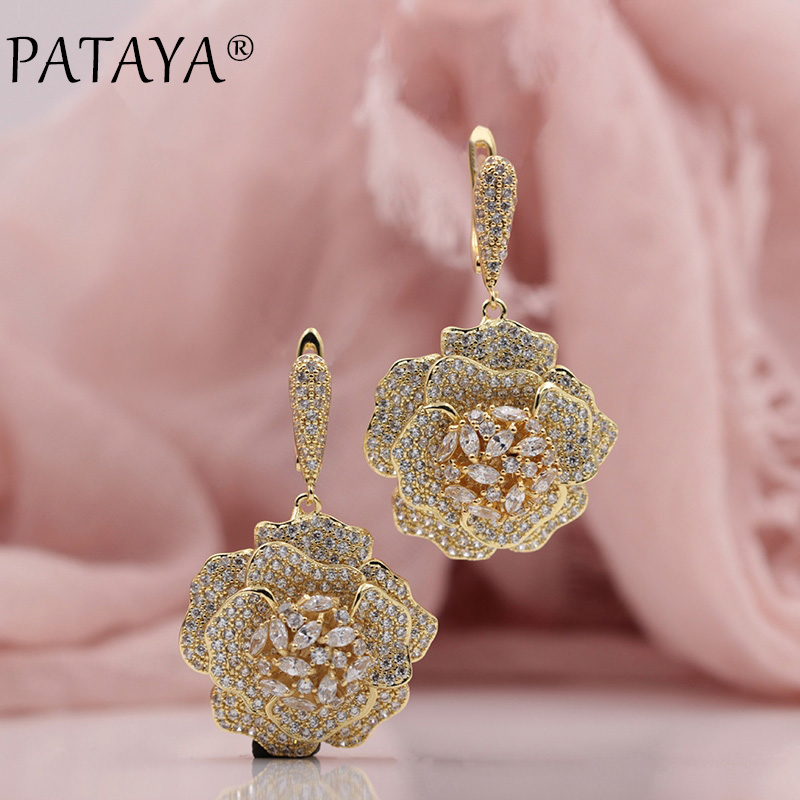 PATAYA New Trendy 585 Rose Gold Extreme Luxury Micro-wax Inlay Natural Zircon Flowers Drop Earrings Women Wedding Party Jewelry цена