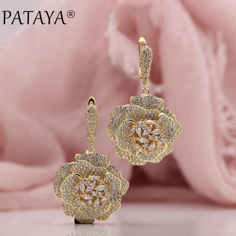 PATAYA nouveau à la mode 585 or Rose extrême luxe Micro-cire incrusté naturel Zircon fleurs boucles d'oreilles goutte femmes bijoux de fête de mariage