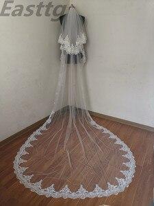 Image 1 - Echte Foto Wit/Ivoor Hoge Kwaliteit 2 T Lace Edge 3M Kathedraal Bruiloft Sluier Met Kam Bridal Veils accessoires Velos De Novia