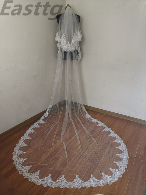Echte Foto Wit/Ivoor Hoge Kwaliteit 2 T Lace Edge 3M Kathedraal Bruiloft Sluier Met Kam Bridal Veils accessoires Velos De Novia