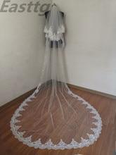 Velo de novia con borde de encaje, velo de boda con velos nupciales con peineta, accesorios, Blanco/Marfil, 2 T