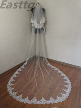 Voile en dentelle 2 T de haute qualité, blanc/ivoire, 3M, avec peigne, accessoires de mariage en cathédrale