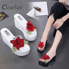 Womens sandals wedges summer new transparent rose high-heeled platform sexy wild womens non-slip C1386