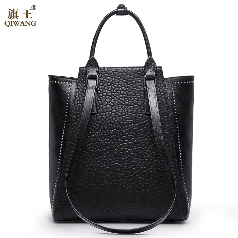 Large Rivet Women Bag China Brand Handbag with Long Top Handles Strap Handbag Real Leather Womens Bag FashionLarge Rivet Women Bag China Brand Handbag with Long Top Handles Strap Handbag Real Leather Womens Bag Fashion