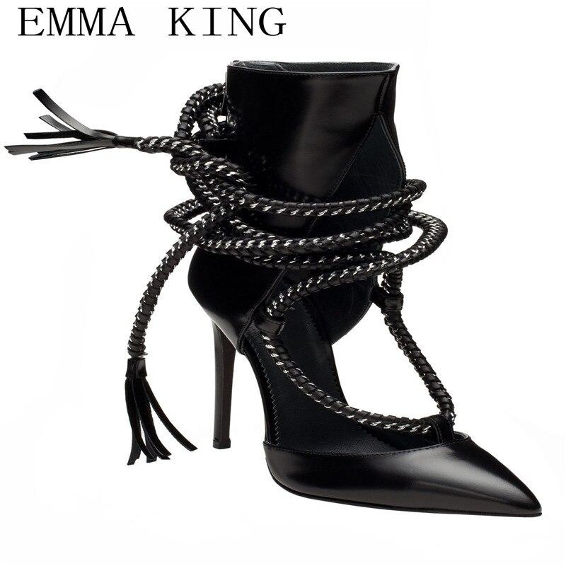 Tassels poco da profonda punta a immagine alla Cinturino frange Shoes  Women s donna caviglia Punta con alti Tacchi ... af2c8741174
