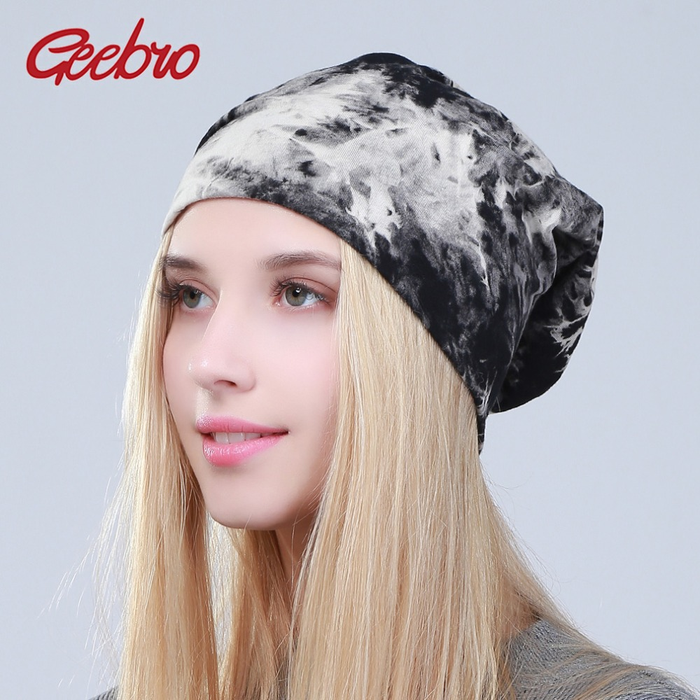 Geebro Women's Tie Dye Slouchy   Beanies   Hat Spring Cotton   Beanie   For Women Female Black Hats   Skullies   Girls Bonnet Cap balaclava