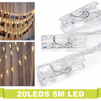 5M 20Leds Photo Clip String Light Cold Warm White Christmas Indoor Decoration 3xAA Battery Operated Romantic