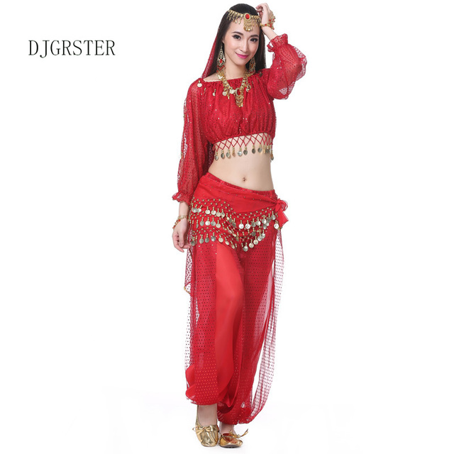 Lovely DJGRSTER New 5pcs Belly Dance Costume Bollywood Costume Indian Dress  Bellydance Costumes Womens Belly Dancing Costume Set Tribal