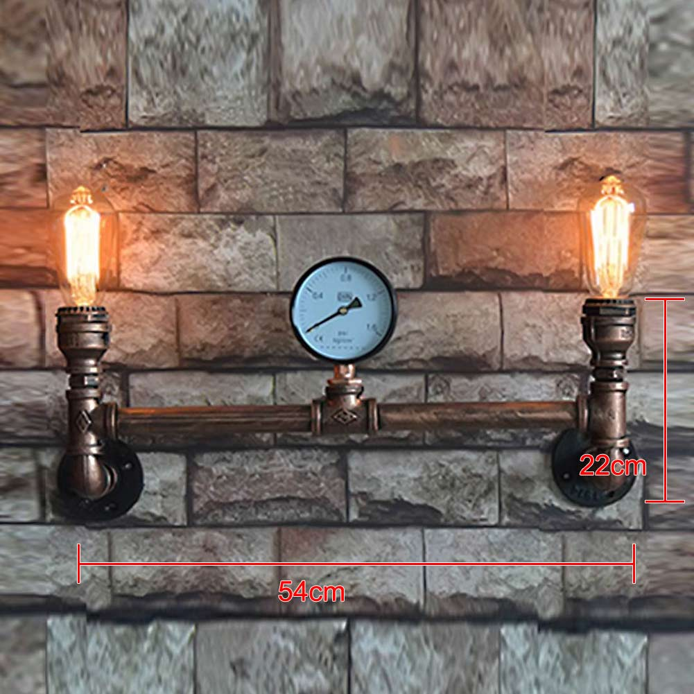 Loft Vintage Waterpipe Wall Lamp American Industrial 2 Heads E27 Wall Light Sconces Wandlamp for Home Bar Restaurant Decoration ark light vintage reminisced loft bird wall light american style wall sconces light for coffee bar tea room