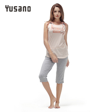 Yusano 2017 Sleepwear Women O-neck Bandage Sleeveless Letter Print Dots Unicorn Pajamas Casual Grey Blue Nightwear Lady Pijamas