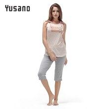 Yusano 2017 Sleepwear Women O-neck Bandage Sleeveless Letter Print Dots Unicorn Pajamas Casual Grey Blue Nightwear Lady Pijamas