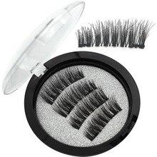 Wqzl 2 Pairs Soft Magnetic Eyelashes Double Magnets Lashes Handmade Fiber 3D Natural False Makeup KS02