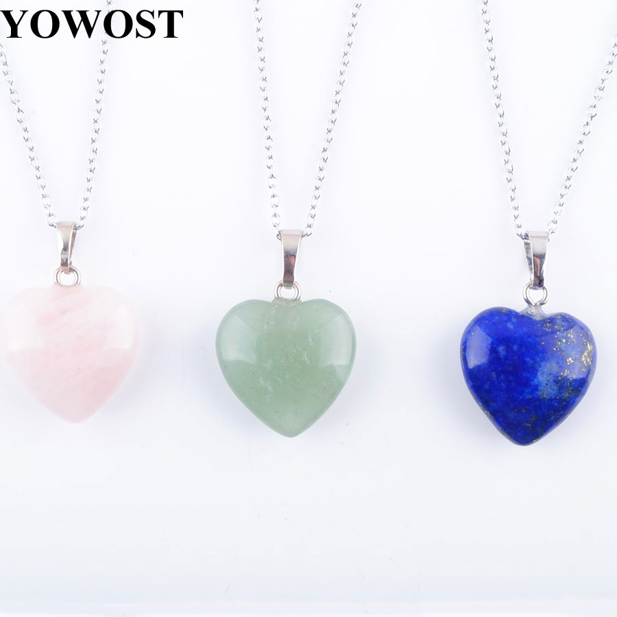 YOWOST Natural Tigers Eye Aventurine Agates Crystal Amethysts Lapis Lazuli Love Heart Stone Bead Pendant Necklace Jewelry IBN345