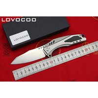 LOCOVOO ST 22 High Quality D2 Blade Titanium Handle Flipper Folding Knife Outdoor Camping Hunting Pocket